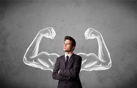 muscled: Young businessman wondering with sketched strong and muscled arms