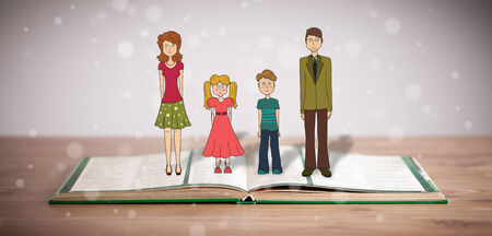 colorized: Drawing of a happy family on opened book. The symbol of unity and happiness