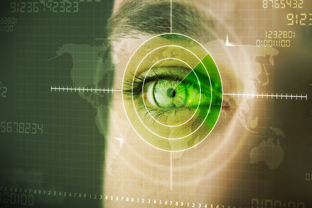 terrorists: Modern man with cyber technology target military eye concept Stock Photo