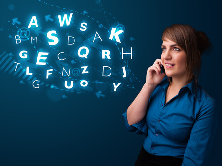 lady on phone: Beautiful young lady making phone call with shiny characters Stock Photo