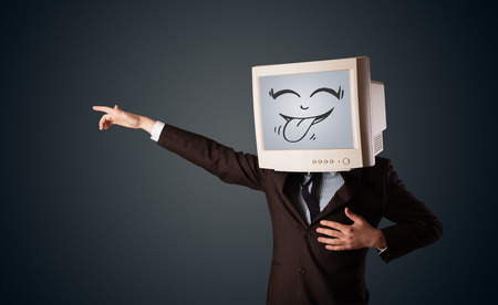 mouth screen: Happy business man with a computer monitor screen and a smiley face