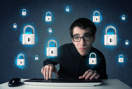 lockout:  Young hacker with virtual lock symbols and icons on blue background