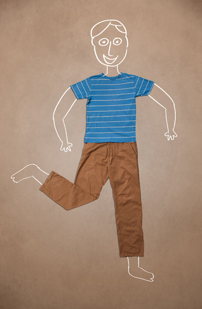 Hand drawn cute funny character in casual clothes photo