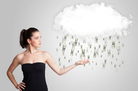 Woman with white cloud and money rain concept photo