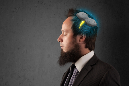 illsutration: Man with thunderstorm lightning head illsutration Stock Photo