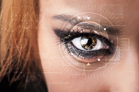 technolgy: Modern cyber girl with technolgy eye looking