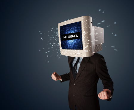 Man with a monitor head, no signal sign exploding out of the display photo