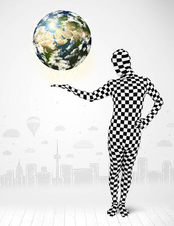 anonymity: Funny man in full body suit holding planet earth, Elements of this image furnished by NASA Stock Photo