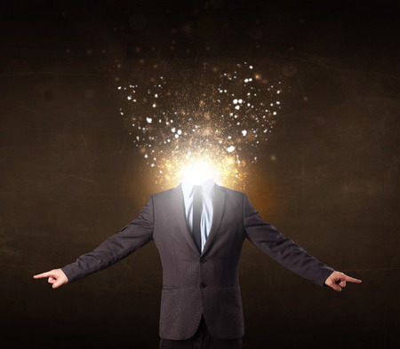 shatter: Business man with glowing exploding head concept Stock Photo