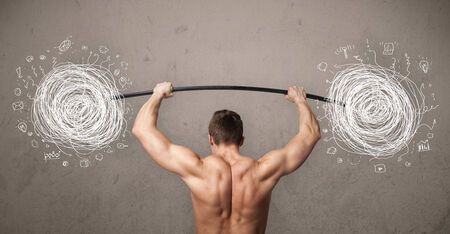 chaos: Strong muscular man lifting chaos concept
