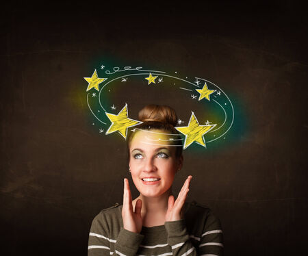 knock out: Young girl with yellow stars circleing around her head illustration