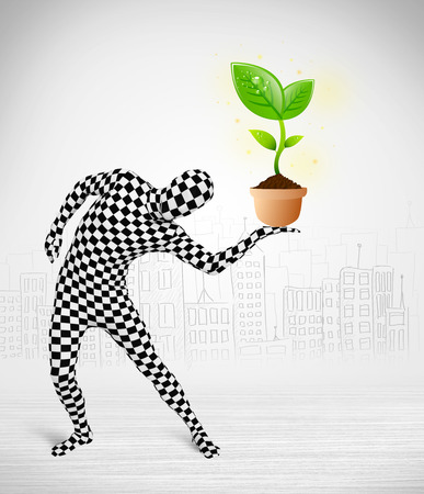 plant stand: Funny man in full body suit with eco plant, ecological concept Stock Photo