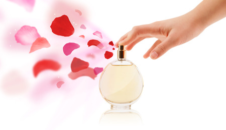 decent: close up of woman hands spraying rose petals from beautiful perfume bottle