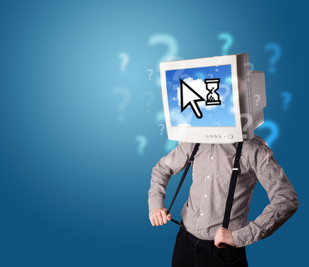 Person with a monitor head and cloud based technology on the screen, blue background photo