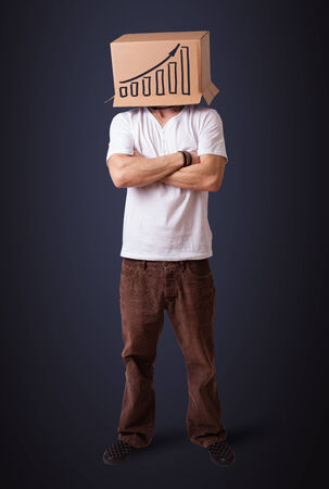 boxy: Young man standing and gesturing with a cardboard box on his head with diagram