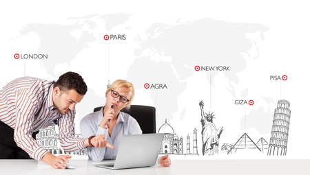 Young businessman and businesswoman with world map and major landmarks of the world photo