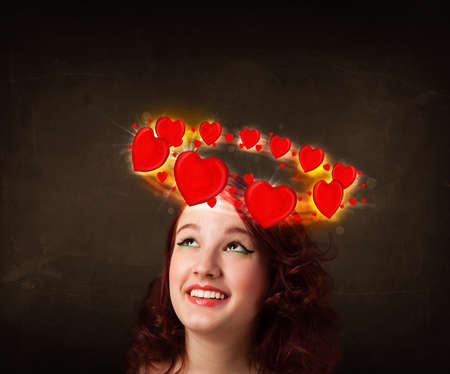 Pretty teenager with heart illustrations circleing around her head  illustration