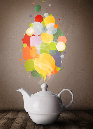 Coffee pot with colorful speech bubbles, close up photo