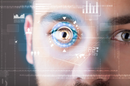 retina scan: Futuristic modern cyber man with technology screen eye panel concept Stock Photo