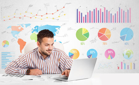 charts graphs: Business man with colorful charts graphs