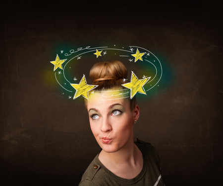 disorganize: Young girl with yellow stars circleing around her head illustration