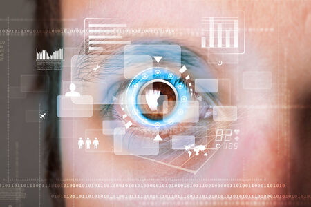 retina display: Futuristic modern cyber man with technology screen eye panel concept Stock Photo