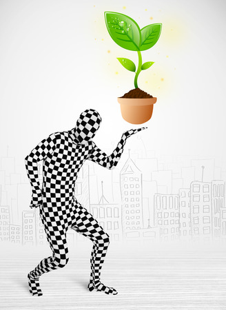 anonymity: Funny man in full body suit with eco plant, ecological concept Stock Photo
