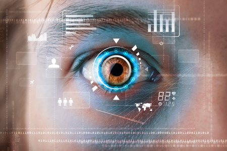 Futuristic modern cyber man with technology screen eye panel concept Stock Photo