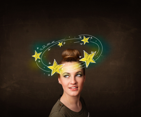 dazzled: Young girl with yellow stars circleing around her head illustration