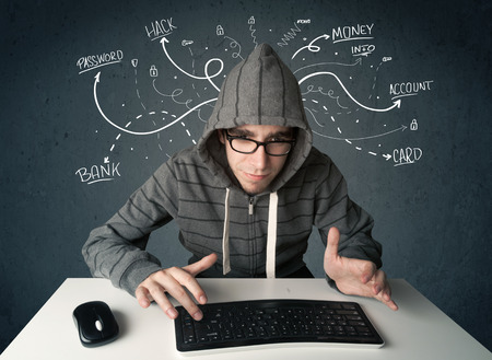 Young dangerous hacker with white drawn line thoughts photo