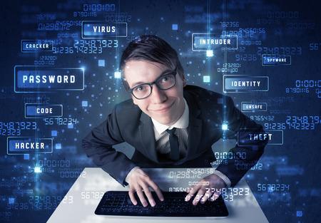 programing: Programaci�n Hacker en la tecnolog�a de medio ambiente con los iconos y s�mbolos cibern�ticos