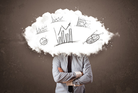 elegant business man: Elegant business man cloud head with hand drawn graphs concept
