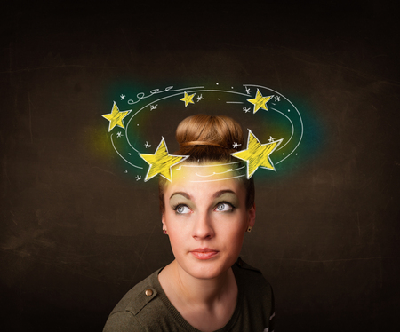sensation: Young girl with yellow stars circleing around her head illustration