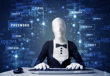 Man without identity programing in technology enviroment with cyber icons and symbols photo