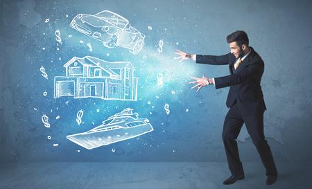Rich persona gettando mano macchina disegnata yacht e concetto di casa