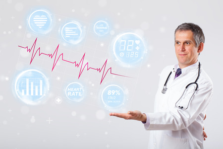 medical assistant: Clinical doctor examinating modern heartbeat graphics
