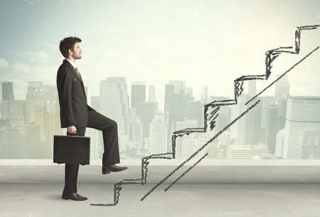 career success: Business man climbing up on hand drawn staircase concept on city background