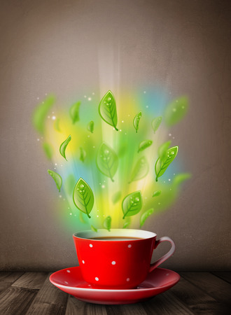 steamy: Tea cup with leaves and colorful abstract lights, close up
