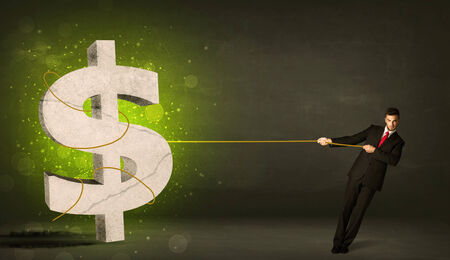 Business man pulling a big green dollar sign concept on background photo