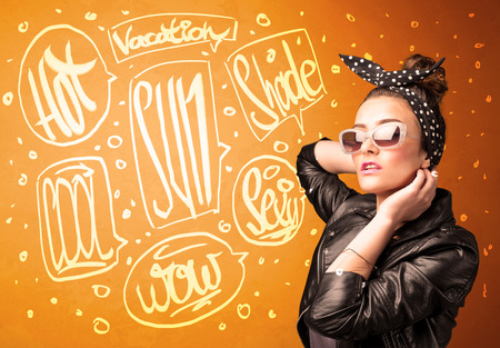 Cool teenager with summer sun glasses and vacation typography concept photo
