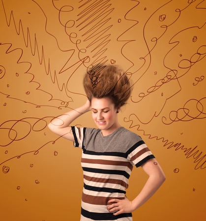Excited young woman with extreme hairtsyle and hand drawn lines concept on background photo