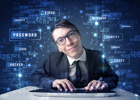 Hacker programing in technology enviroment with cyber icons and symbols photo
