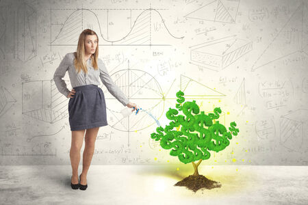 Business woman watering a growing green dollar sign tree concept photo