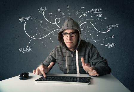 Junge gefährlichen Hacker mit weißen gezeichneten Linie Gedanken Standard-Bild - 34526916
