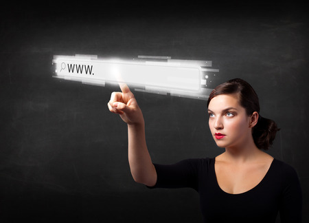 url virtual: Young woman touching web browser address bar with www sign