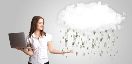 money rain: Woman with white cloud and money rain concept