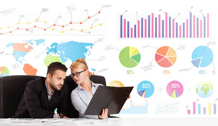 charts graphs: Business man and woman with colorful charts graphs
