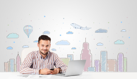 skyscape: Attractive young businessman with city sky-scape background