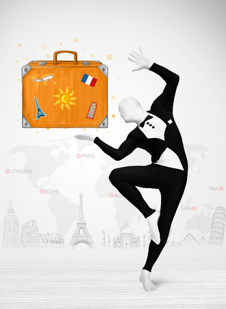 man full body: Funny man in full body suit presenting vacation suitcase, tourist attractions in background