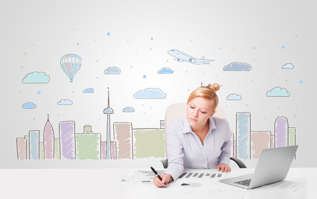 skyscape: Attractive young businesswoman with colorful city sky-scape background Stock Photo